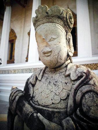 BANGKOK, THAILAND - January 4: Chinese Statue on 4 January 2012 at ancient buddhist Temple (Wat Pho), Bangkok, Thailand Editorial