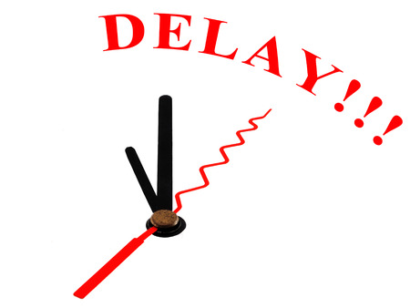 delay: clock and text Delay Stock Photo