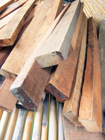 Stack of wooden photo