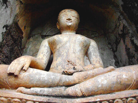 Old Buddha statue in Wat Chang Lom at Sukhothai,Thailand. photo