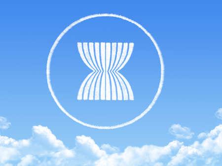 AEC or ASEAN economics community flag cloud shape