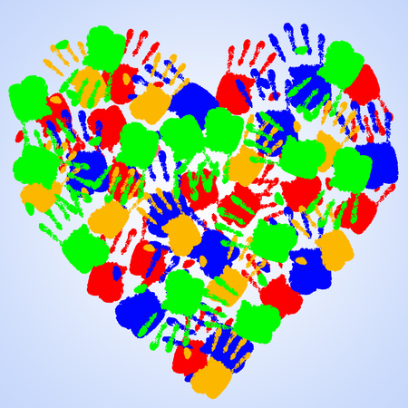 heart with colorful handprints  photo