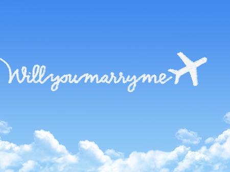Nube a forma mi vuoi sposare messaggio photo