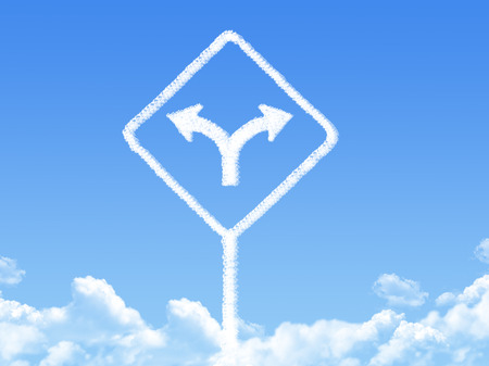 fork in path: Sign cloud shape Stock Photo