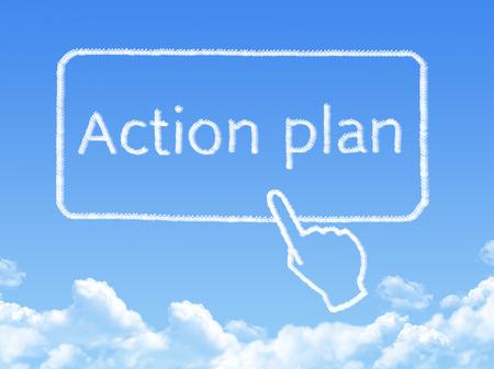 plan de accion: Mensaje de plan de acci�n forma de la nube