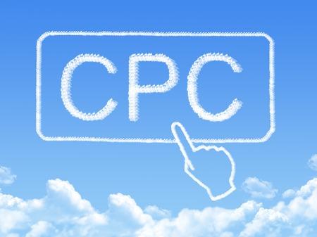 Cost Per Click message cloud shape photo