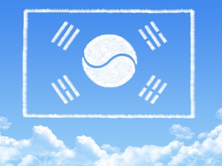 korea flag: South Korea flag cloud shape Stock Photo