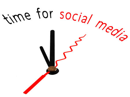 time for social media with clock concept photo