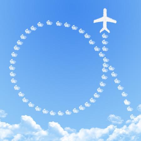 Plane on Cloud shaped ,dream concept photo