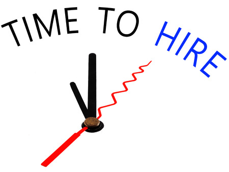 Time to hire with clock concept
