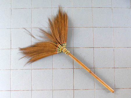 slovenly: Old obsolete broom Stock Photo