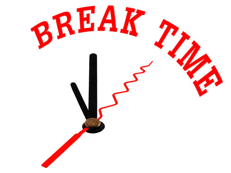 Time concept: Clock icon and word Break Time photo