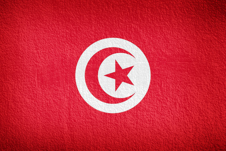 Tunisia flag and red wall background photo