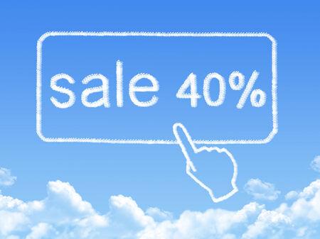 sale 40% message cloud shape photo