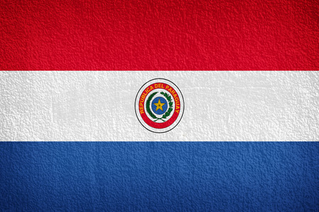 disintegrate: Paraguay Flag painted on grunge wall Stock Photo