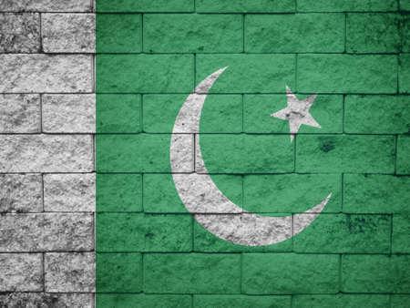 pakistan flag: Pakistan Flag on the old wall texture Stock Photo