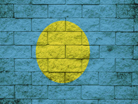 palau: Palau Flag on the wall texture Stock Photo