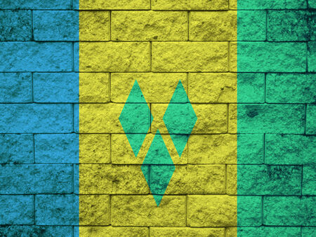 grenadines: Saint Vincent and The Grenadines Flag painted on grunge wall