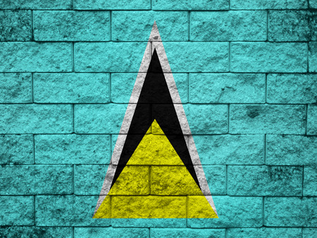 saint lucia: Saint Lucia Flag painted on grunge wall