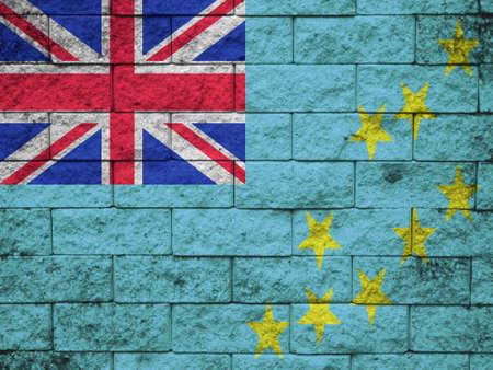 tuvalu: wall with painted flag of Tuvalu
