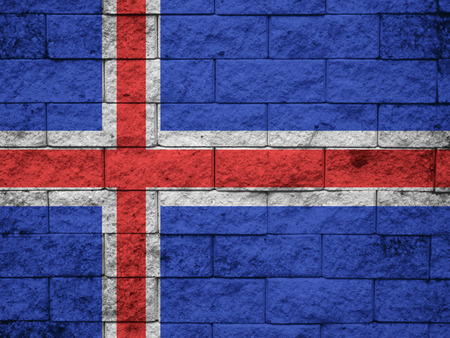 disintegrating: Iceland Flag painted on grunge wall