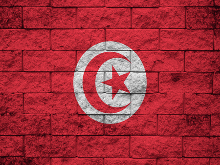 beautify: Tunisia flag and red wall background