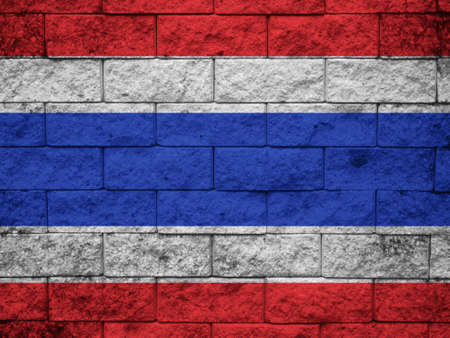 Thailand Flag painted on grunge wall photo