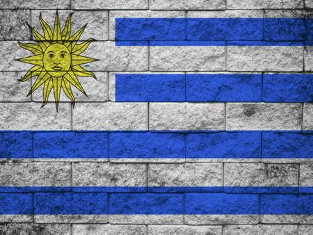 uruguay flag: Uruguay Flag painted on grunge wall Stock Photo