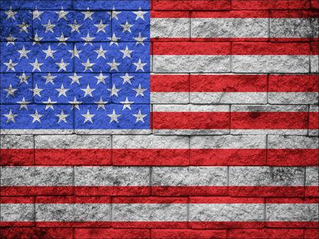 US national flag on stone wall background photo