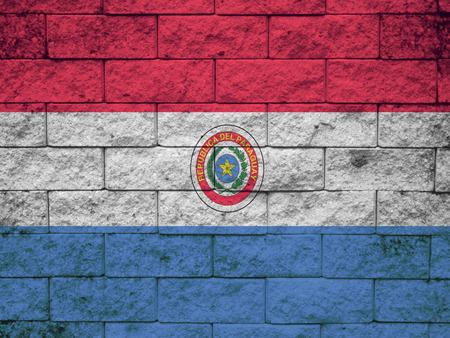 Paraguay flag: Bandera de Paraguay pintado en la pared del grunge