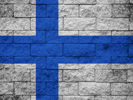 Finland Flag brick wall background