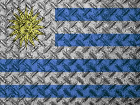Uruguay flag: Bandera de Uruguay en la pared del grunge Foto de archivo