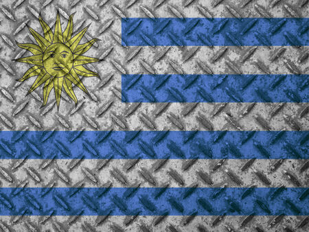 uruguay flag: Uruguay flag on grunge wall Stock Photo