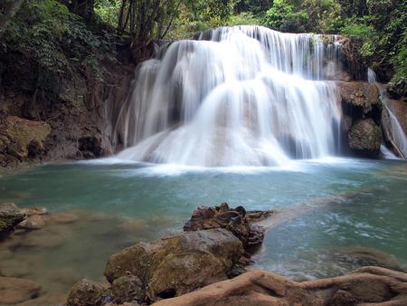 Beautiful Waterfall in Srinakarin Dam National Park , Kanchanaburi Province , Thailand photo