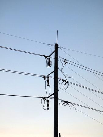 voltage gray: electricity post Stock Photo