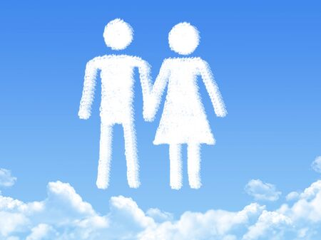 compliant: man and woman cloud shape Stock Photo