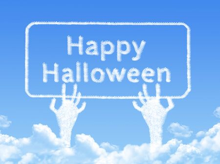 halloween message: Happy Halloween message cloud shape Stock Photo
