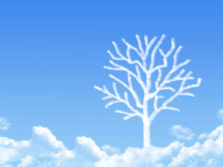 leafless: leafless tree cloud shape Stock Photo