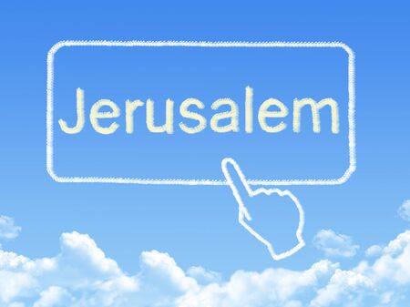 message cloud: Jerusalem message cloud shape Stock Photo