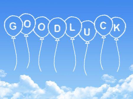 buena suerte: Cloud shaped as good luck Message Foto de archivo