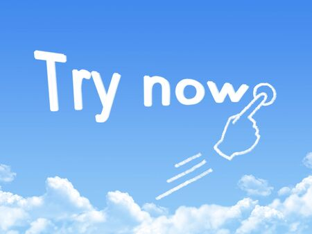 try: Try now message cloud shape Stock Photo