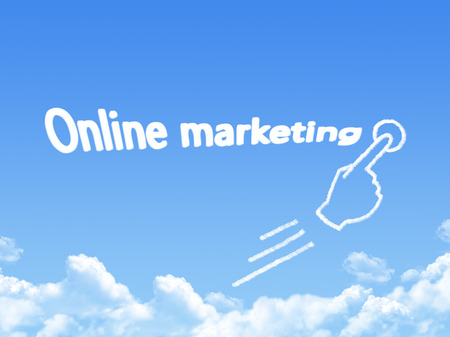 urging: online marketing message cloud shape Stock Photo