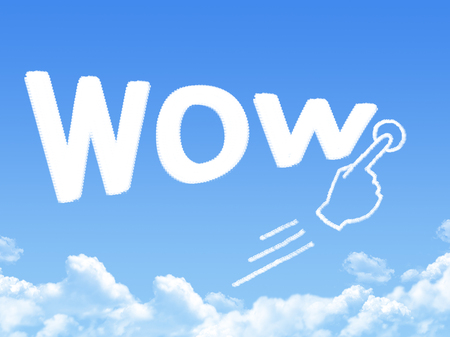 wow: wow forma nubes mensaje Foto de archivo