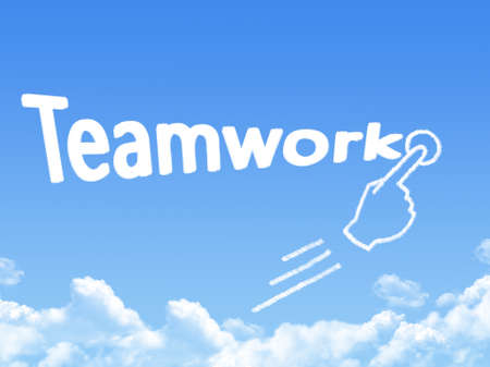 message cloud: teamwork message cloud shape Stock Photo