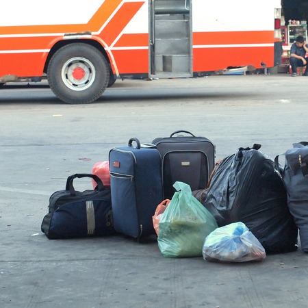 rucksacks: Luggage consisting of large suitcases rucksacks and travel bag Stock Photo