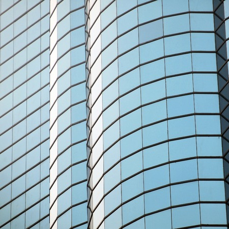 open windows: glass wall with open windows Stock Photo