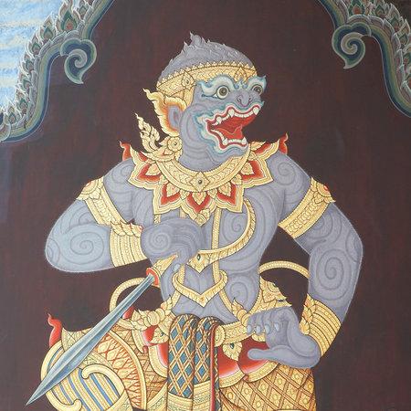 annals: Bangkok, Thailand - May 16, 2013 : Hanuman in Ramayana story at Wat Phra Kaeo