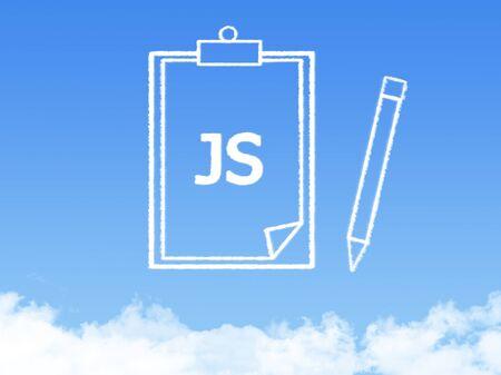 js: Notepad paper document cloud shape
