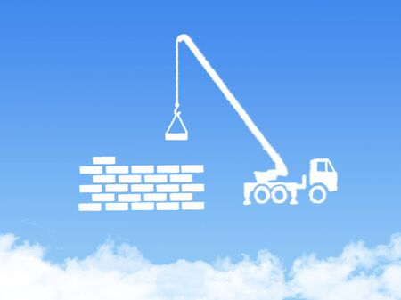 deficit: Concept Cloud shape showing a crane pulling the last bar in a graph up