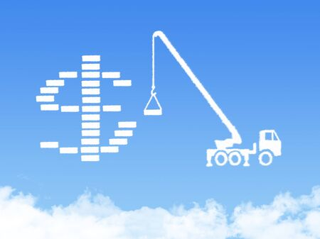 Concept Cloud shape showing a crane pulling the last bar in a graph up photo
